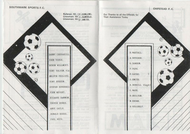Southwark Borough FC - Southwark Sports v Chipstead 1987-88 FA Vase Extra Prel. Rd (Name changed 1988).  X.png