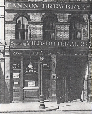 Borough High Street, formerly Blackman Street. The Star was situated at 79 Blackman Street until renumbering in 1899. This pub was demolished c.1932.  X.png