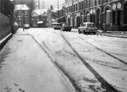Faraday Street, c.1969, looking towards Portland Street. Aycliffe House is the larger house at the bottom and is still there.  X.png