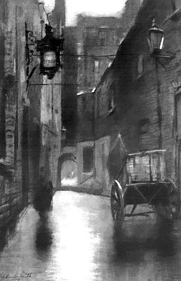 Painting of the Marshalsea in the early 1900s, after it had closed.jpg