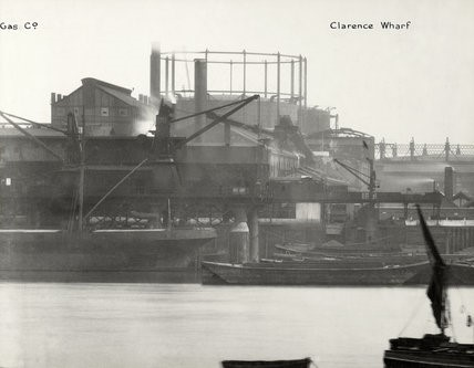 South Metropolitan Gas Works 1937, with a collier moored against the wharf. The Rotherhithe gas works closed in 1959..jpg