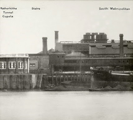 Thames Riverscape showing the Rotherhithe Cupola and the South Metropolitan Gas Works1937.jpg