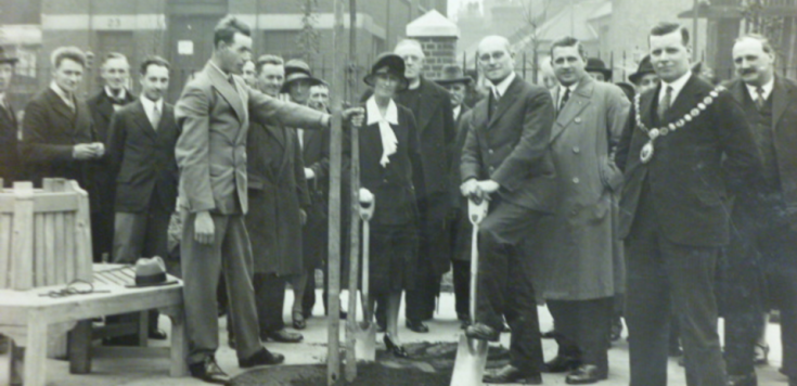 Alfred Salter, planting a tree of Heaven at the opening of the Tanner Street playground. X.png