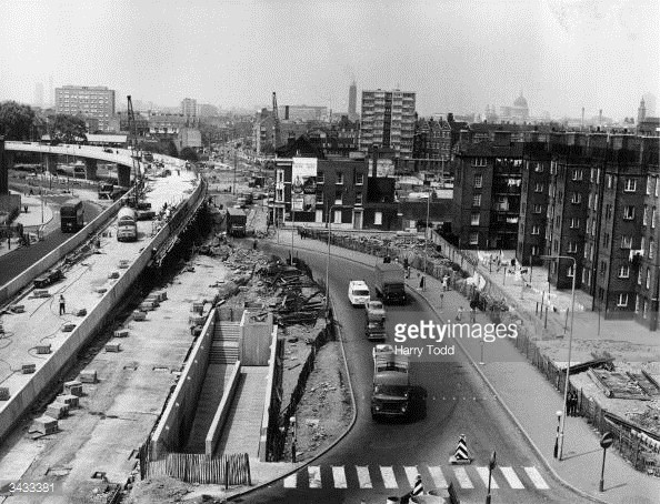 OLD KENT ROAD FLYOVER 1970S. IS THAT BARNABY BUILDINGS ON THE RIGHT.jpg