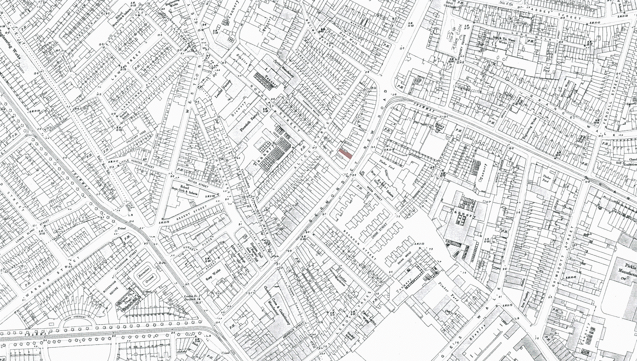 Tower Bridge Road map from 1895, number 79 is shaded red.png