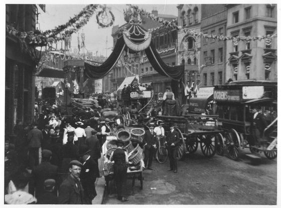 Borough High Street. 1902 I think the decorations are for The Coronation of Edward VII and his wife Alexandra as King and Queen of the United Kingdom and the British Empire..jpg