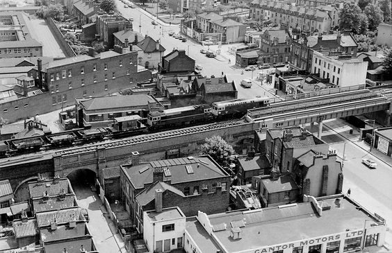 Ilderton Road,Old Kent Road Junction 1969. The London Bridge rail line where it crosses the Old Kent Road (A2). This section of track is between South Bermondsey and Queens Road Stations.1969.jpg