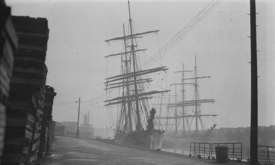 The 'Lalla Rookh' lies alongside the quay in the Surrey Docks, with the 'Alastor' on the opposite side of the dock and the 'Virgo' astern, probably  c 1928.jpg