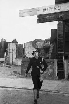 Women in Civil Defence Mrs Edith Digby, a 43 year old Air Raid Warden, on duty in Blitz-damaged Bermondsey, London. - Mrs Edith Digby, an Air Raid Warden on duty in Bermondsey, London during the Sec.jpg