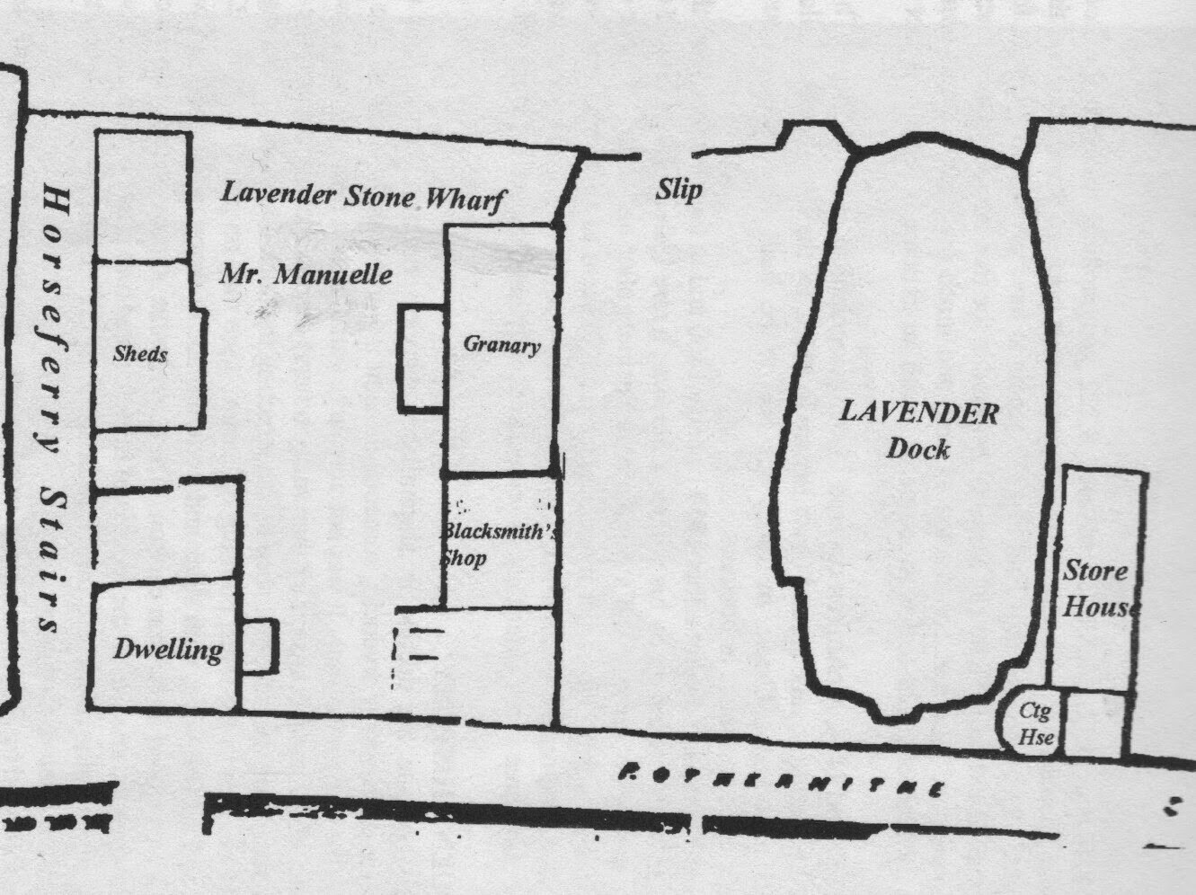 Lavender Wharf and Dock, Rotherhithe Street  c1843..jpg