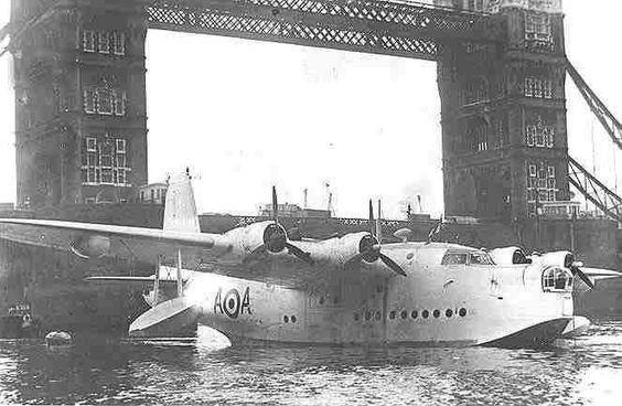 Short Sunderland Mark V flying boat, RAF A-A by Tower Bridge on a Battle of Britain Day, Pool of London 1950s.jpg