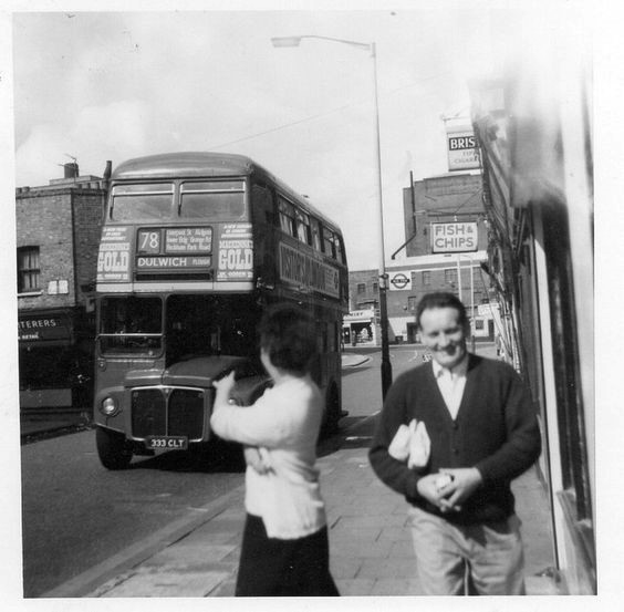 Peckham Park Road, Astoria Cinama in the Old Kent Road in background. This is the bus we caught to go to Liverpool St Station when Jen lived in Southhend 1959-60s   X.jpg