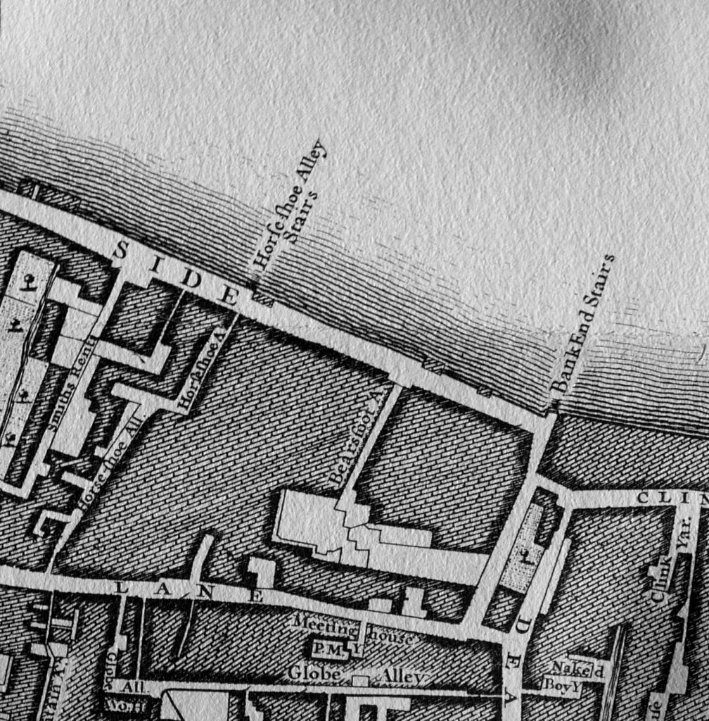 SOUTHWARK BRIDGE built left of Horseshoe Alley Stairs (Map 1746)..jpg
