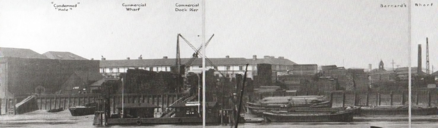 Commercial Dock Pier Showing the Scotch Derrick, 1937, in the foreground, Odessa Street to the right of the Derrick..jpg