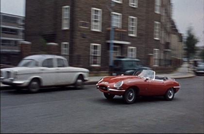 Film Dont Raise the Bridge Lower The Water 1968 George (Jerry Lewis) in his E-Type Jaguar drives along George Row, passing 'Fleming House', here filmed from Wolseley Street..jpg