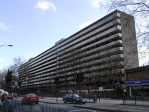 Heygate Estate, picture taken from New Kent Road. Constructed in 1971-1974. Demolished in 2011-2014..jpg