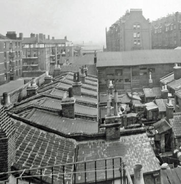 Leroy St Rear of Houses,Swan Mead, (left) Guinness Buildings (background right). 1930..jpg