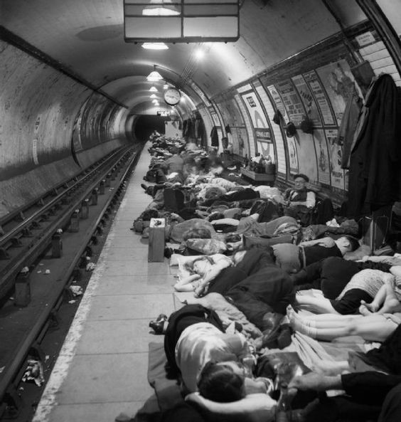 Elephant and Castle London Underground Station Shelter, Elephant and Castle tube station while taking shelter from German air raids during the London Blitz..jpg