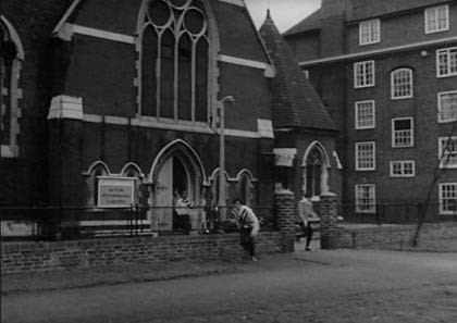 Tabard Street,Dave Clarke Five seen leaving the Church after filming.jpg