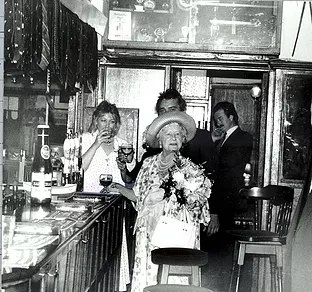 Blacksmiths Arms,  Queen Mother in Blacksmiths Arms Rotherhithe 1988..png