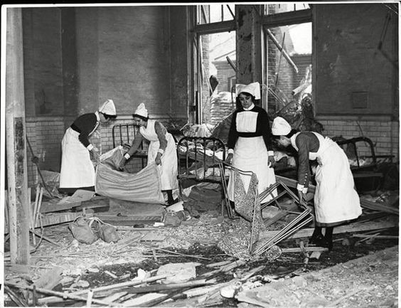The aftermath of a bombing at a London hospital in November 1940 Nurses doing the cleaning up.... We tend to forget just how much the Nurses did and the dangers they worked under..jpg