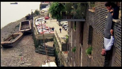 Film A Fish Called Wanda. Otto (kevin kline) holds Archie from the apartment window. This is Reed's Wharf next to Mill Stairs off Bermondsey Wall West. X.jpg