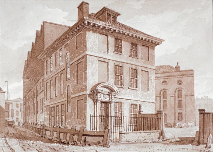 The brewery of Clowes, Newbury and Maddox sat on Stoney Lane, Tooley Street. Painting 1827..jpg