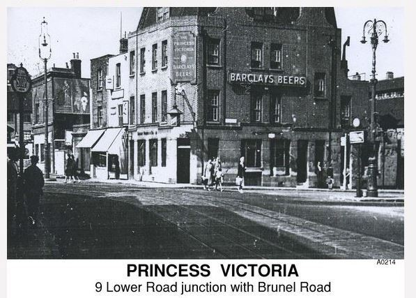 The Princess Victoria, formerly the Ship on Launch at 9 Lower Deptford Rd, Rotherhithe Photo dated 1949.jpg