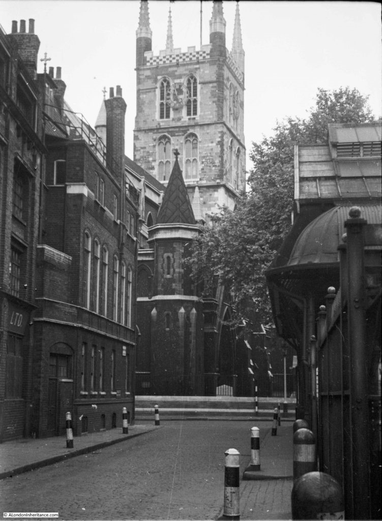 Southwark Cathedral from Winchester Walk. In 1953,rear of Borough Market on the right..jpg
