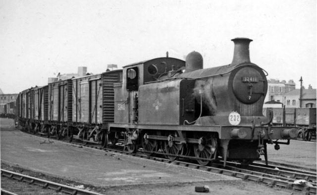 Bricklayer's Arms Goods. In the days (1959) when the several Depots at Bricklayer's Arms were still very active, No. 32418 built in 1905, withdrawn 1962) is seen shunting.  X.jpg