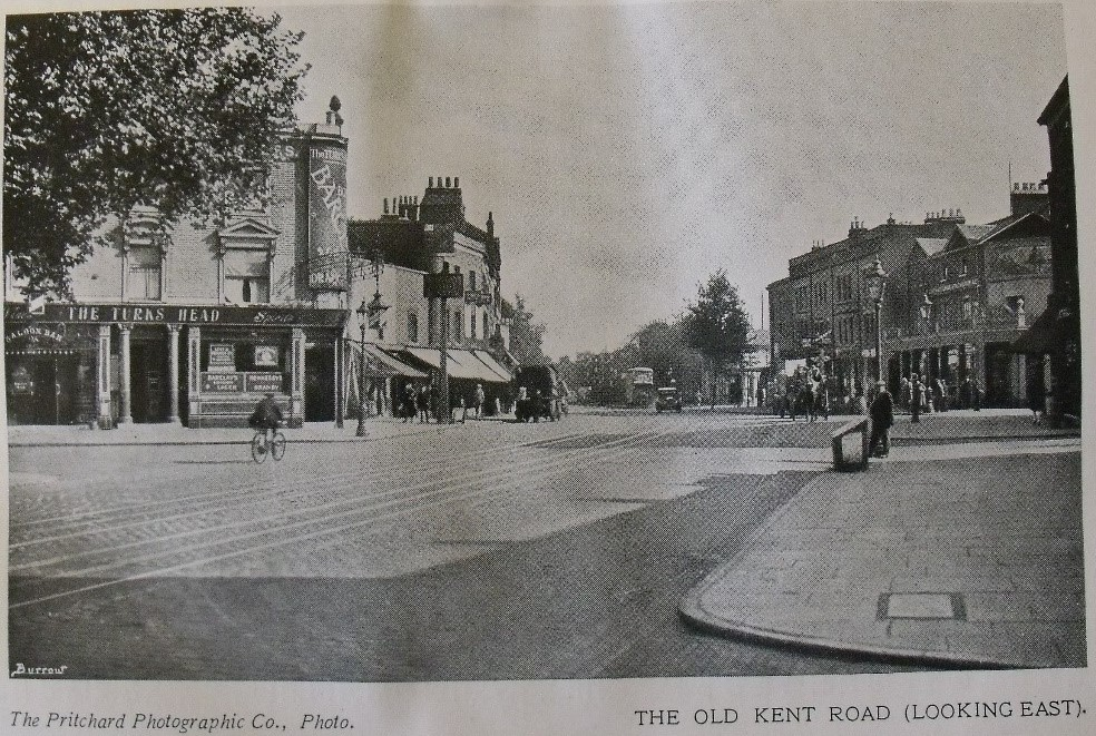 OLD KENT ROAD. South metropolitan Gas Works to the left, Kentish Drovers Pub on the right..jpg