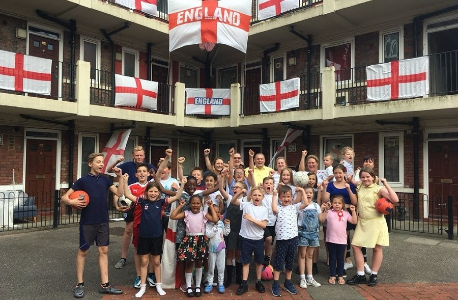 The Kirby estate in Bermondsey the residents covered the estate with over 300 England flags for the World Cup.jpg