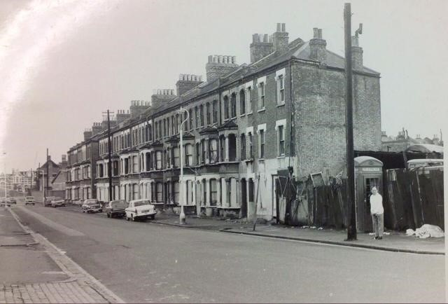New Church Road, Victory Square which is just visible as a tiny street on the right-hand side of the road just beyond the third car. All have disappeared, now Burgess Park  X.jpg