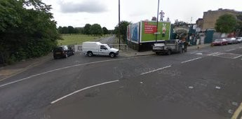 New Church Road now stops at the gate where the white van is, now Burgess Park. Southampton Way going right X.jpg