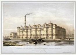 Rotherhithe Street ,the granary at Canada Wharf in about 1860, seen from the river.jpg