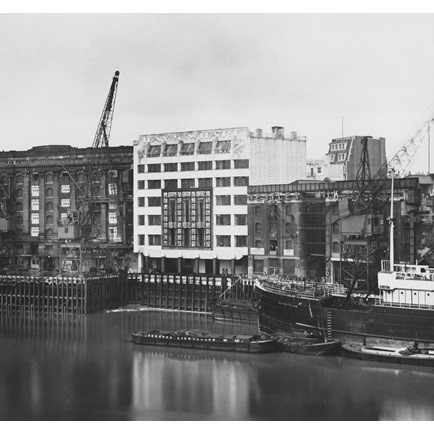 Tooley Street, Hay's Wharf, St Olaf House, Southwark, seen from the River Thames with the Nestles warehouse on the right..jpg