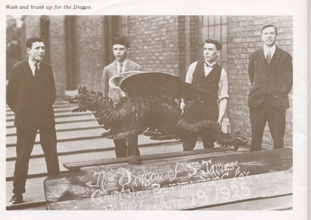 Thurland Road, St James Church. Here's a picture of the dragon when it came down for a wash and brush up in 1925..jpg