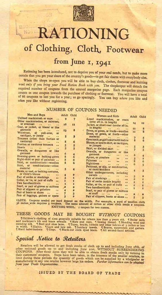 Wartime ration chart for clothing. It's no wonder my Mum was so frugal all her life..jpg