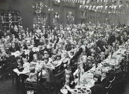 Pages Walk, Guinness Buildings, Residents and children at the Coronation tea party in. 1937..jpg