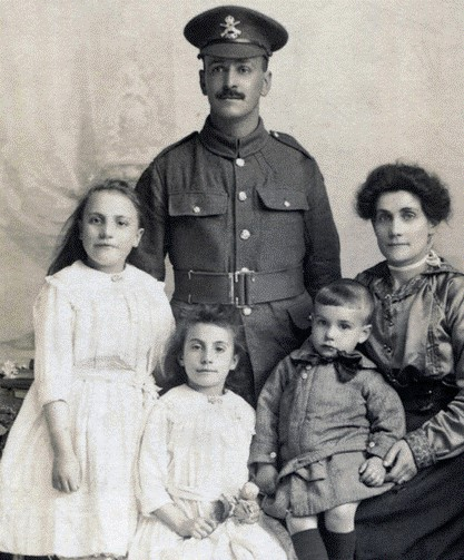 THE FEY FAMILY, Annie,Ethel, Albert, dad Albert & wife Ellen c 1913 9th (Machine Gun) Battalion Royal Naval Division during WWI. X.jpg