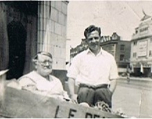 Mason Street, corner with Old Kent Road c1950, Kate & Stanley Oliver, my Nan & Uncle..jpg
