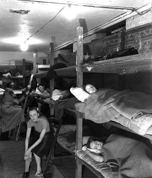 Southwark Bridge Road, SE1, AFS Auxiliary Fire Service women resting in bunks at Southwark Fire Station during the Second World War c1940.jpg