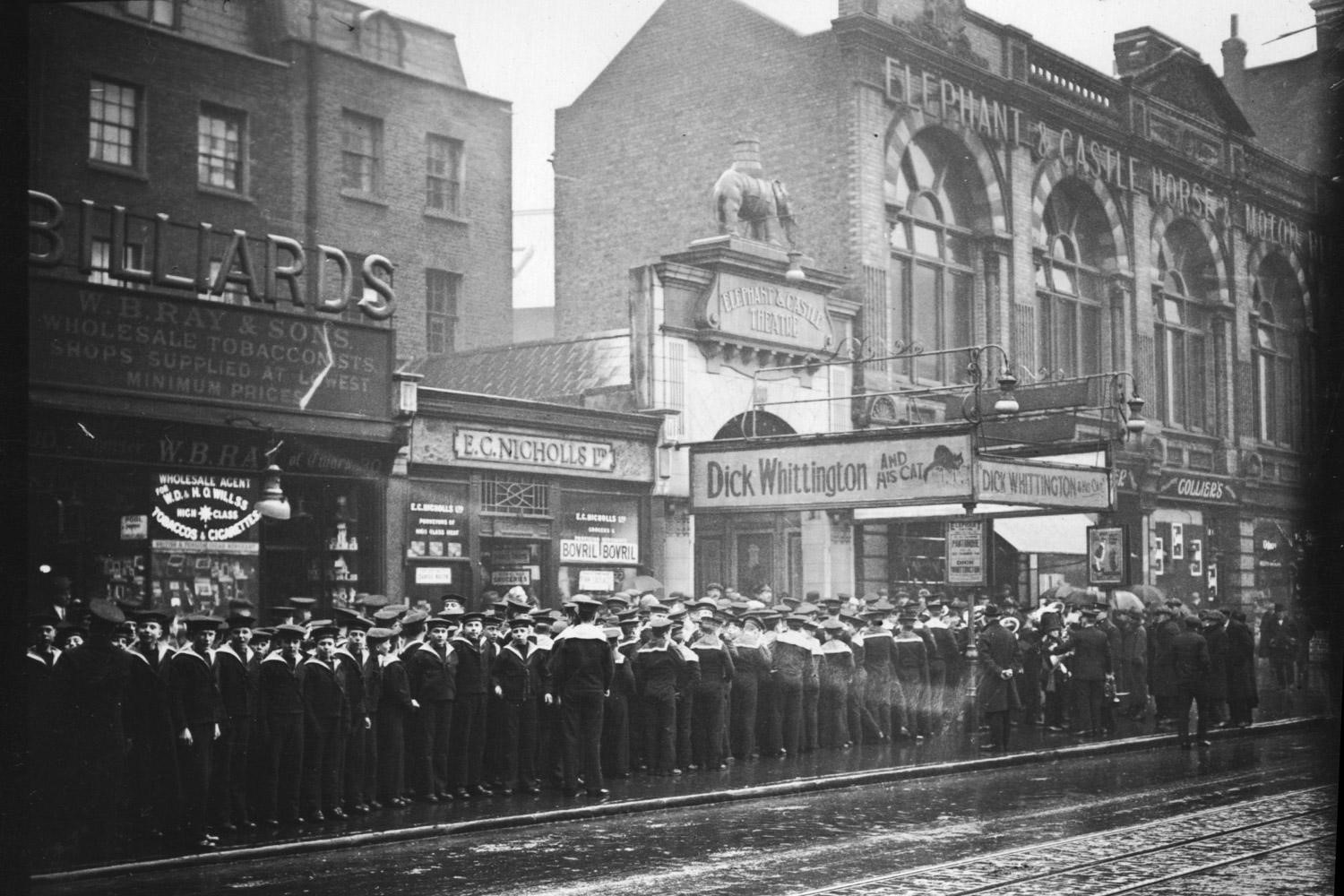 New Kent Road. 950 sailor boys arriving at the Elephant and Castle Theatre, to see Dick Whittington.1928.jpg