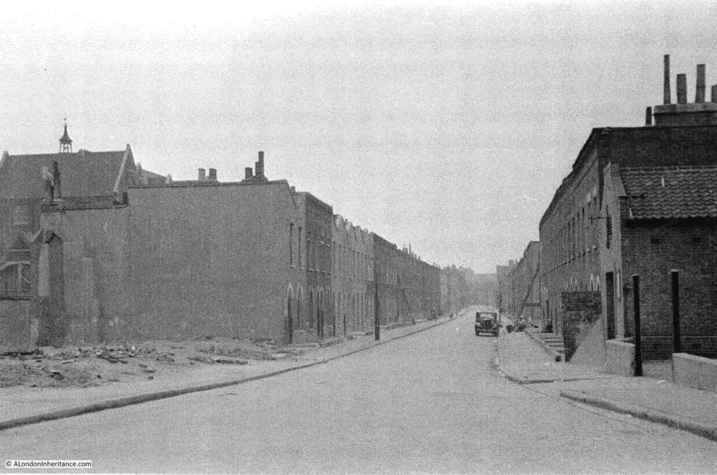 Bevington Street looking south from Bermondsey Wall. 19th century slum dwellings ravaged by the blitz 1948..jpg