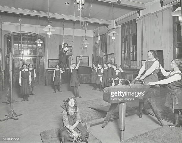 Laxon Street Evening Institute for Women Gymnastics lesson, London 1914 Girls using the horse and ropes.jpg