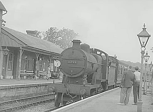 Goudhurst station. The station was on the now closed Hawkhurst Branch from Paddock Wood in Kent. 1954..png