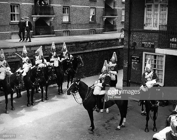 Swan Mead. A troop of Life Guards of the Household Cavalry on a visit to Bermondsey..jpg