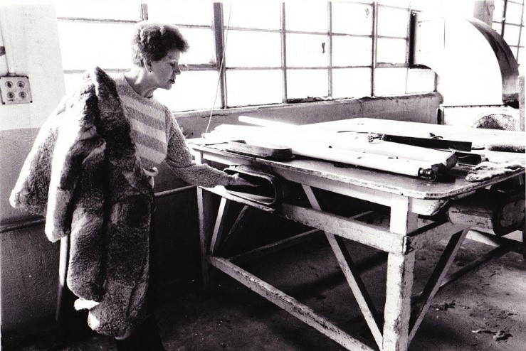 Mary Gibson's aunt Nell Halstead revisits the Alaska fur factory in Bermondsey where she once worked.jpg