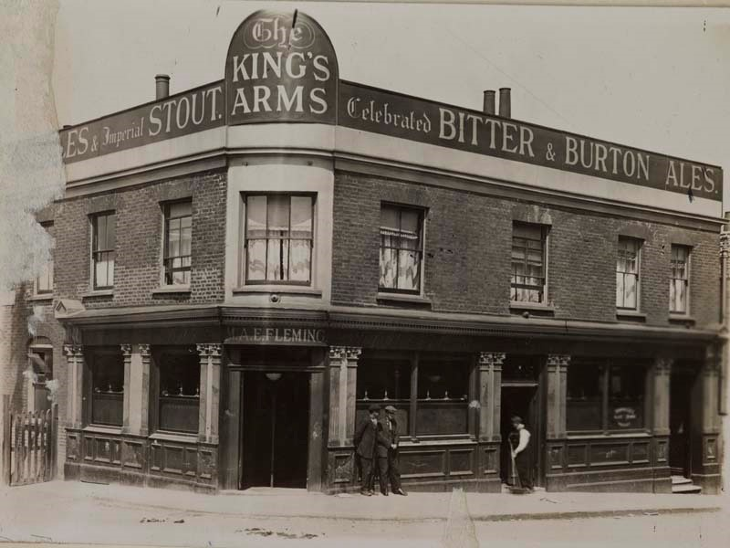 Wells Way was called Wells Street.  Kings arm. P. H. Noakes & Co. near St. Georges bridge.  c.1915-1925.jpg