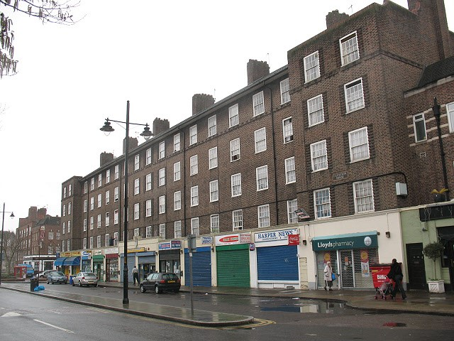 Harper Road Ellington House is a block consisting of four storeys of residential accommodation above a parade of shops on Harper Road, Southwark.jpg